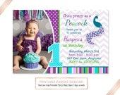 Peacock Birthday Invitation, Peacock Party, Bird Birthday, Purple Turquoise Invite, DIY Custom Printable