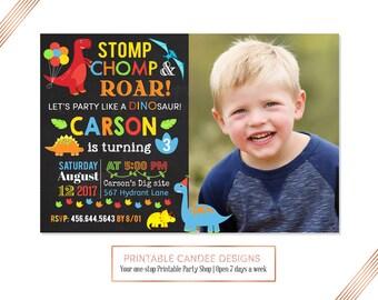 Chalkboard Dinosaur Birthday Invitation, Dinosaur Invitation, Dinosaur Party, Boy's Birthday Invite, Dinosaur Dig Birthday, Printable
