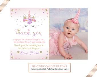 Unicorn Thank you, Horse Party Thank you, Unicorn Face Thank you, Unicorn 1st Birthday, Photo thank you card, Printable DIY