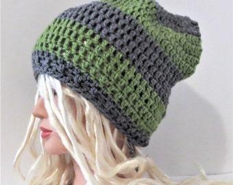 Grey and Green Rasta Hat, Slouchy Hat, Bob Marley Style Crochet Hat, Striped Slouchy Hat
