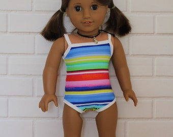 White Trim Bathers Swimmers, Togs, Swimwear Doll Clothes to fit 18 inch dolls to 20 inch dolls such as American Girl & Australian Girl dolls