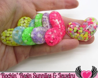 5 pc Confetti Rhinestone HEARTS Resin Decoden Flatback Kawaii Cabochons 40x27mm, large heart cabochons