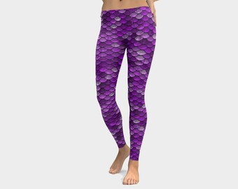 High Waist Purple Mermaid Leggings, Purple Scale Print Leggings, Small Fish Scale Leggings, Yoga Leggings, Mermaid Leggings Woman Bahasha