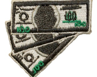 ID 0068 100 One Hundred Dollar Bills Cash Money Currency IronOn Applique Patch