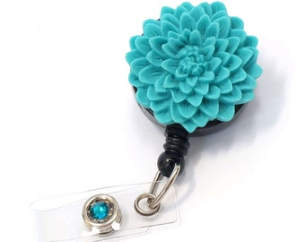 Turquoise Flower - ID Badge Holder - Flower Badge Reels - Designer ID Reel - Nurse Gifts - Pretty Name Badge Clips - BadgeBlooms