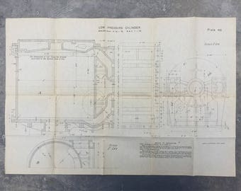 Industrial Reed's Engineers Hand Book: plate 46. Vintage printed engineer's detailed drawing. Industrial wall art, ready to frame.
