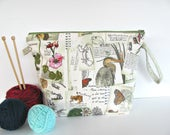 Knitting bag, Zippered crochet project bag, Knitters gift yarn bag - Spring Wetlands