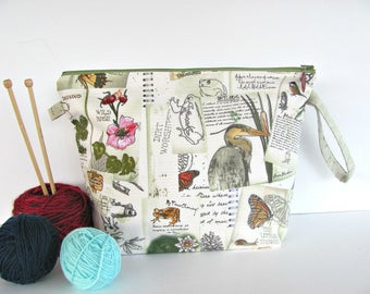Knitting bag, Zippered crochet project bag, Knitters gift yarn bag - Spring Wetlands
