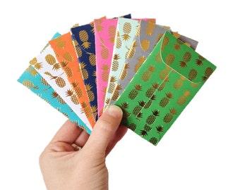 Set of 8 // Gift Card Holders // Gift Card Envelopes // Mini Envelopes // Pineapple Stationery // Gift Envelopes // Pineapple Envelopes