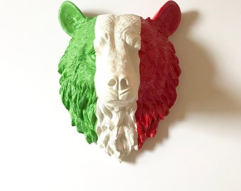 CUSTOM Large Bear in Italian Flag colors/ Green White Red / Faux Taxidermy animal head wall mount wall hanging bear head OR PICK your Colors