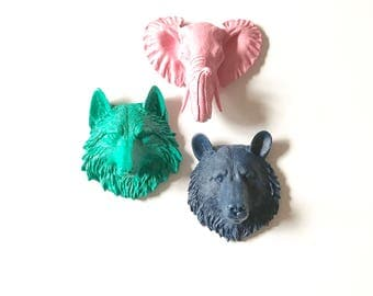 Set of 3 Small Animal Head wall mount Faux Taxidermy mini wall hanging:  Choose 3 from the 6 - small bear wolf tiger lion elephant or zebra
