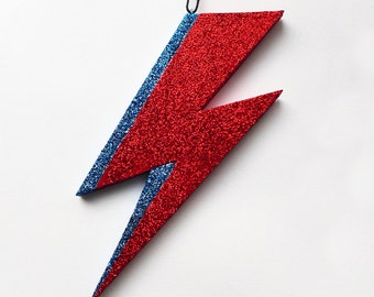 Glam Flash Ornament, glittery lightning bolt, superhero ornament