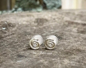 Sterling Silver Spiral Earrings -  Hammered Studs - Minimalist // Bohemian - Handcrafted in the USA