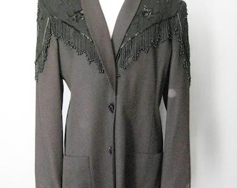 Beaded Western Blazer / Vtg 80s / Size Large /  Lew Magram Extravagant Black Beaded Western Blazer / Beaded Jacket
