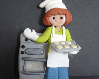 Baker Oven Christmas Ornament Girl Chef Hat Mitt Apron Cookies Pie Polymer Clay Milestone Cake Topper Bakery Caterer Birthday Cake 1st