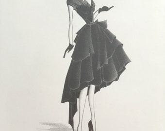Fashion Illustration / original drawing / fashion art / black dress / vintage style / chic decor / pencil drawing / ball gown / wall art
