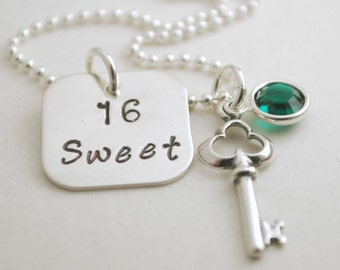 Custom Sweet 16 Necklace Sweet Sixteen Jewelry Hand Stamped Sterling Silver