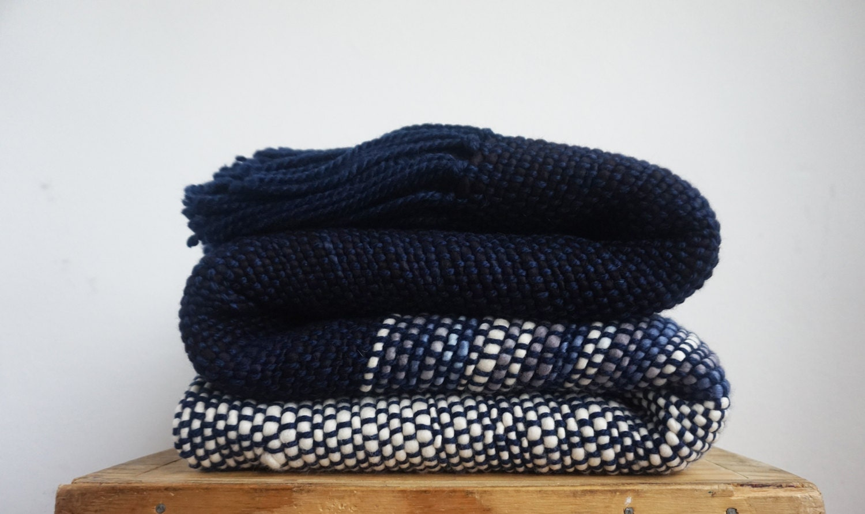 Wool Sofa Blanket Blue Striped Handwoven Throw Blanket