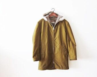 1960s Mens Parka / Vintage Windbreaker / 60s Hooded Coat / Workwear / Raincoat