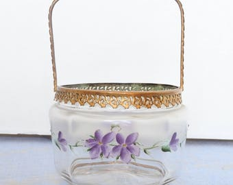 RESERVED FOR RENEE - Beautiful Antique French Biscuit Basket, enameled violets, gilded collar and handle