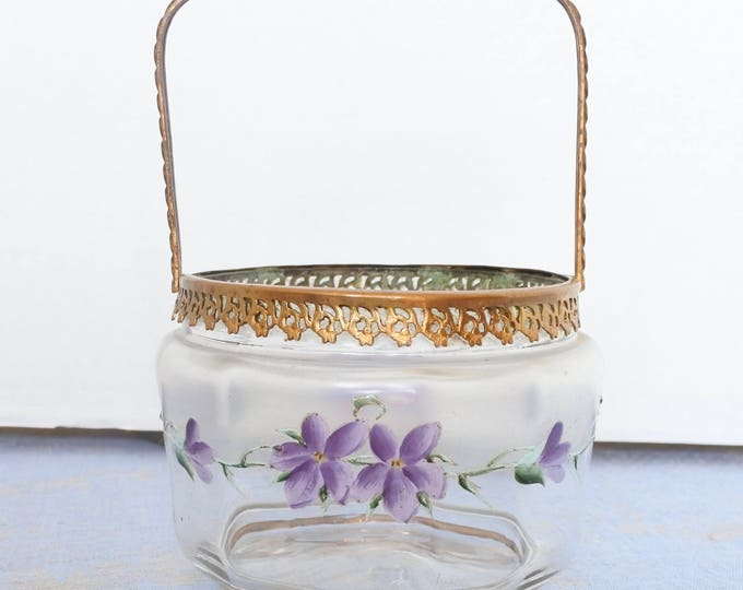 Featured listing image: RESERVED FOR RENEE - Beautiful Antique French Biscuit Basket, enameled violets, gilded collar and handle