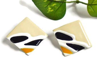 Square Earrings Cream Color Black White Yellow Accent, Stylized Vintage Modern Enamel Coated Big Bold Square Pierced Earrrings