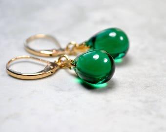 Green Drop Earrings, Green Teardrop Earrings, Green Glass Jewelry, Gold Leverback Earrings, Glass Bead Earrings UK shops, Wife Gift, For Her