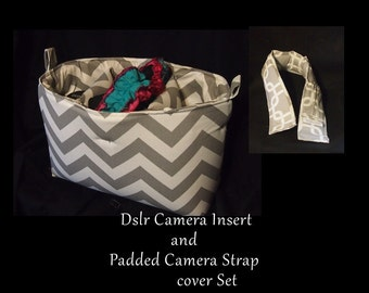 DSLR Camera Bag Insert & Camera Strap Cover Set \ Canon6D Nikon Sony \ Water Resistant \ Camera Bag Insert \ Dslr Insert \ 14x5x8