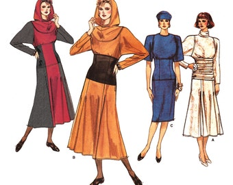 """1986 Bat Wing Dress, Flared or Slim Skirt, Detachable Hood, Wide Fitted Midriff, Ruching Option, Butterick 9682 6-8-10: Bust 30.5-32.5-33.5"""""""