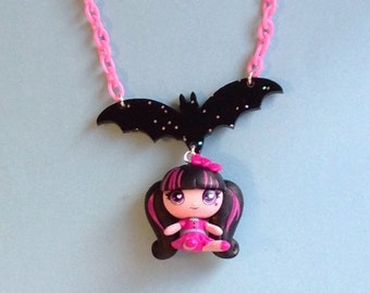 Draculaura - Monster High Vampire Girl Doll Necklace with Black Glitter Bat on Pink Chain