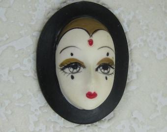 Vintage Porcelain Face Mask Cabochon 47X33MM Doll Face, Assemblage, Jewelry Design