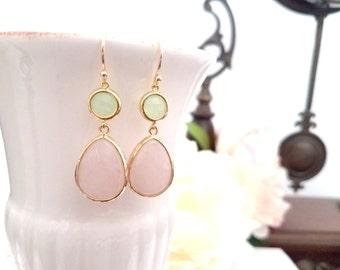 Rose quartz Wedding earrings, white Pinky Drop earrings,Dangle earrings, bridesmaid gifts, Wedding Earrings, Bridal Jewelry,  GIFT