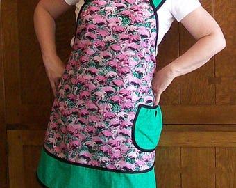 Flamingo Apron - Pink and Green New Retro Style Flamingo Apron - Size XL