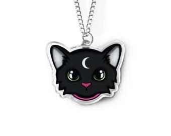 Familiar Cat Necklace - Witch Jewelry, Fairy Kei, Kawaii Cat, Kei, Pastel Goth, Moon Kitty, Soft Grunge Fashion