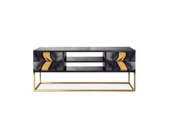 Media unit OXARA. Luxury furniture. High gloss finish. Handmade furniture. Inlay furniture. Brass. Copper. Black. White. Brown.