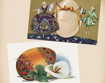 Russian Easter Egg - Corbella Couple - 2 New 4x6 Vintage Postcard Image Photo Prints - CO04-RU08
