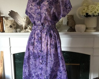 """50s Lavender Floral Day Dress with 34"""" waist"""