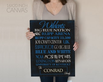 Personalized University of Kentucky Wildcats Print or Canvas. UK Wildcats. Gifts for him. gifts for dad. sports decor. Graduation Gift