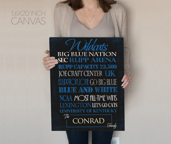 Personalized University of Kentucky Wildcats Print or Canvas. UK Wildcats. Gifts for him. gifts for dad. sports decor. Lexington Kentucky.