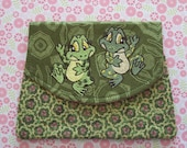 Fun and Funky Dancing Frogs Embroidered Pouch Organizer