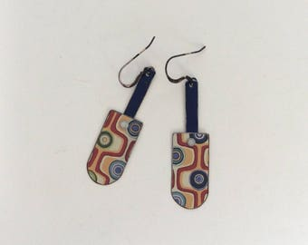 Handmade Tin Earrings, Repurposed Lightweight Tin, Bronze Ear Wires, One of a Kind