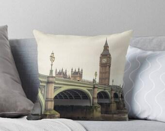 London throw pillow - Big Ben, Green Decor, Green pillow