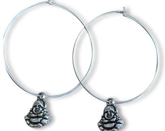 BUDDHA Charm HOOP EARRINGS Silver Tone Nickelfree Hoops Zen Meditation Buddhism