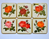 Vintage 1960's Pimpernel Coasters with Rose Designs, Boxed and Unused