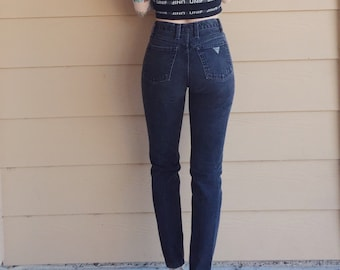 GUESS Black Denim High Waisted Skinny Jeans // Women's size 23 24 XS Petite