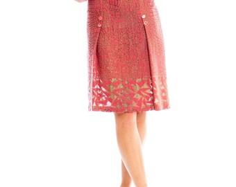 1920s Art Deco Gold Lame Geometric Print Skirt Size: M