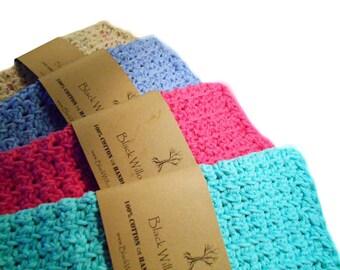 Natural Washcloths, Set of 4, Cotton Washcloth, Washcloth, Eco Friendly, Crochet Washcloth, Cotton, Natural, Cotton Wash Cloth