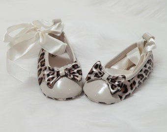 Leopard Baby Girl Shoes Leopard Ribbon Tie Shoes with Rhinestones
