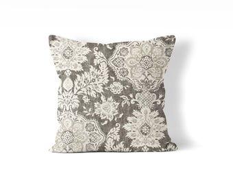 Fixer upper pillow cover 20x20 inch, master bedroom throw pillow, gray pillow cover, farmhouse pillow, rustic guest bedroom decor, floral