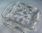 Anchor Hocking Deviled Egg Dish,  Precut Design, Scalloped Edging, Clear Relish Dish, Crystal Square Plate, Star of David, Formal Dining